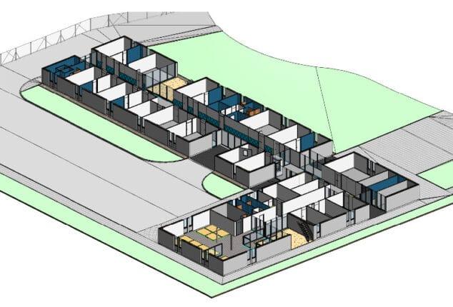 sección de un modelo 3D de un edificio industrial